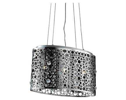 Elegant Lighting Soho Royal Cut Chrome & Crystal Three-Light 18'' Long Island Light