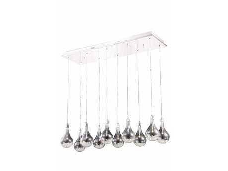 Elegant Lighting Edison Royal Cut Chrome & Crystal Ten-Light 39.5'' Long Island Light