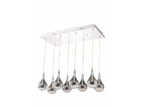 Elegant Lighting Edison Royal Cut Chrome & Crystal Eight-Light 30.5'' Long Island Light
