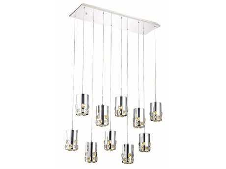 Elegant Lighting Broadway Royal Cut Chrome & Crystal Ten-Light 34.5'' Long Island Light