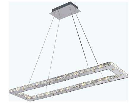 Elegant Lighting Atom Chrome & Clear Crystal 32-Lights 42'' Long Island Light