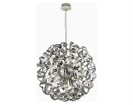 Elegant Lighting Tiffany Elegant Cut Chrome & Crystal 30-Light 43'' Wide Pendant