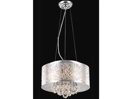 Elegant Lighting Prism Royal Cut Chrome & Crystal Four-Light 16'' Wide Pendant