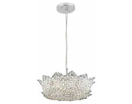 Elegant Lighting Lotus Elegant Cut Chrome & Clear Six-Light 16'' Wide Pendant