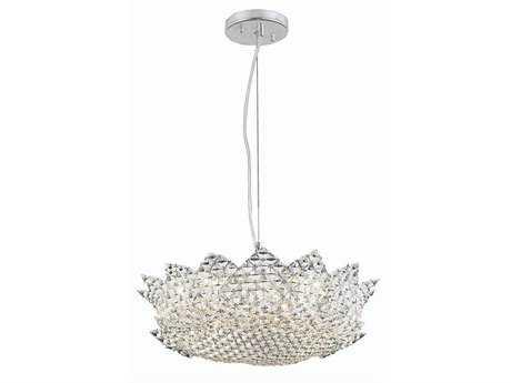 Elegant Lighting Lotus Elegant Cut Chrome & Clear Eight-Light 19'' Wide Pendant
