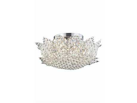 Elegant Lighting Lotus Elegant Cut Chrome & Clear Six-Light 16'' Wide Semi-Flush Mount Light