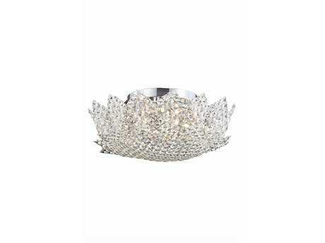Elegant Lighting Lotus Elegant Cut Chrome & Clear Eight-Light Flush 19'' Wide Mount Light