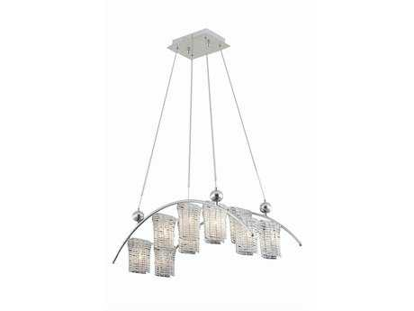 Elegant Lighting Vivid Elegant Cut Chrome & Clear Ten-Light 13'' Wide Island Light
