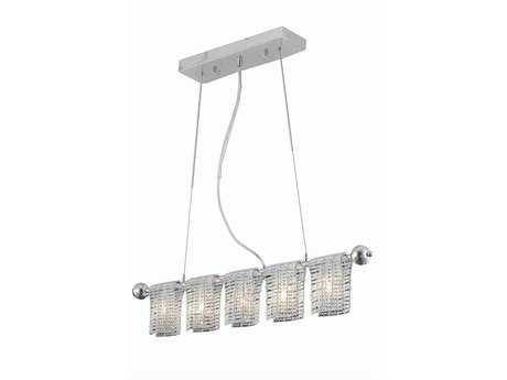Elegant Lighting Vivid Elegant Cut Chrome & Clear Five-Light 33'' Long Island Light
