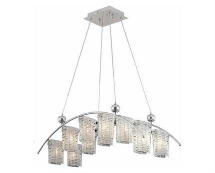 Elegant Lighting Vivid Elegant Cut Chrome & Clear 12-Light 35'' Long Island Light