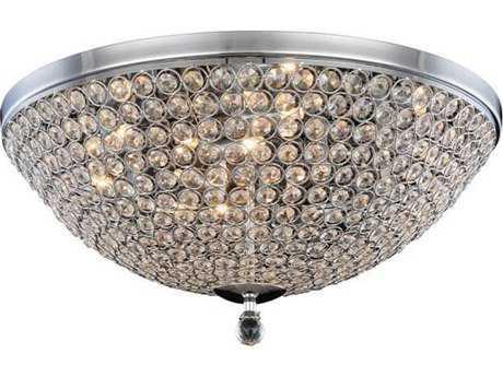 Elegant Lighting Brida Chrome Nine-Light 22'' Wide Flush Mount Light