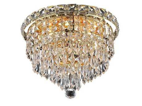 Elegant Lighting Tranquil Royal Cut Gold & Crystal Four-Light 10'' Wide Flush Mount Light