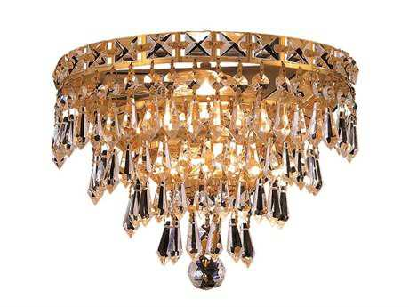 Elegant Lighting Tranquil Royal Cut Gold & Crystal Three-Light Wall Sconce