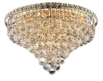 Elegant Lighting Tranquil Royal Cut Gold & Crystal Ten-Light 20'' Wide Flush Mount Light