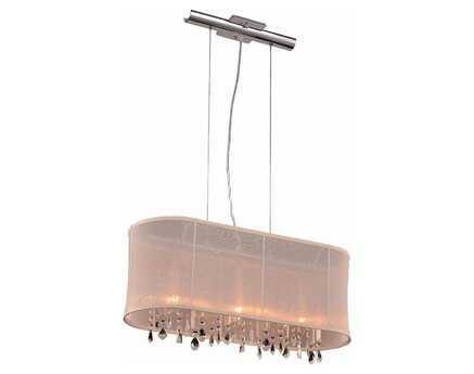 Elegant Lighting Harmony Royal Cut Chrome & Crystal Three-Light 26'' Long Island Light