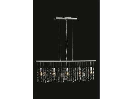 Elegant Lighting Harmony Royal Cut Chrome & Crystal Five-Light 38'' Long Island Light