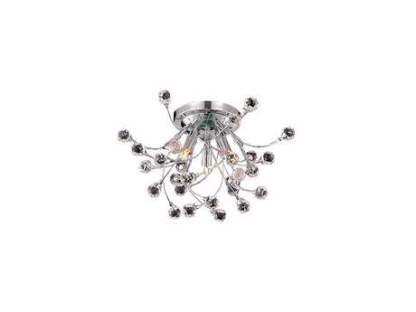 Elegant Lighting Optic Royal Cut Chrome & Crystal Three-Light 16'' Wide Semi-Flush Mount Light