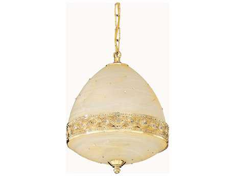 Elegant Lighting Italia Gold & Clear Crystal Four-Lights 12'' Wide Pendant Light