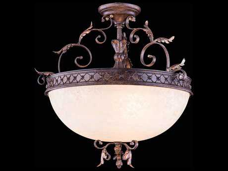 Elegant Lighting Troy Gilded Umber Three-Lights 22'' Wide Semi-Flush Mount Light