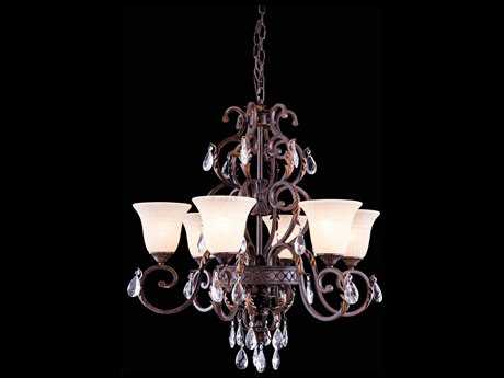 Elegant Lighting Troy Gilded Umber & Clear Crystal Six-Lights 30.5'' Wide Chandelier