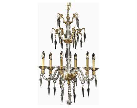 Elegant Lighting Grande Elegant Cut French Gold & Crystal Six-Light 24'' Wide Chandelier