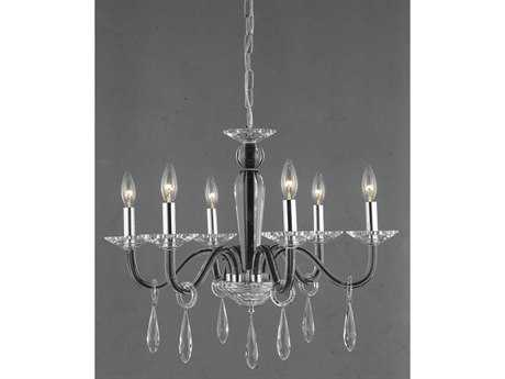 Elegant Lighting Avalon Elegant Cut Black & Crystal Six-Light 23'' Wide Chandelier