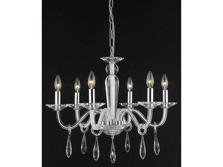 Elegant Lighting Avalon Elegant Cut White & Crystal Six-Light 23'' Wide Chandelier