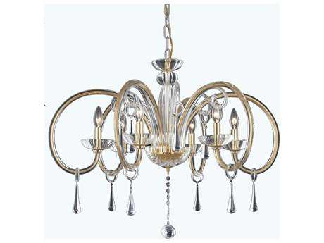 Elegant Lighting Scroll Gold & Clear Crystal Six-Lights 33.3'' Wide Chandelier