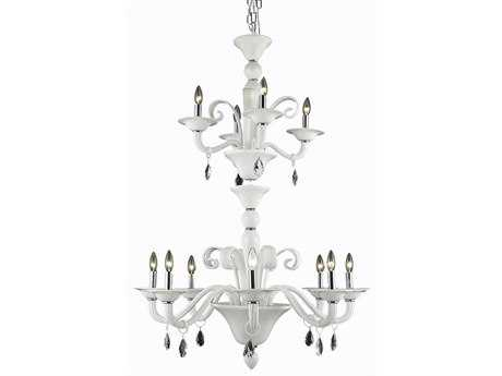 Elegant Lighting Muse Royal Cut White 12-Light 36'' Wide Grand Chandelier