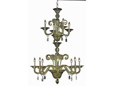 Elegant Lighting Muse Royal Cut Yellow & Golden Shadow 12-Light 36'' Wide Grand Chandelier