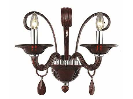 Elegant Lighting Muse Royal Cut Red & Bordeaux Two-Light Wall Sconce