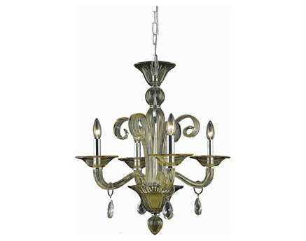 Elegant Lighting Muse Royal Cut Yellow & Golden Shadow Four-Light 22'' Wide Mini Chandelier