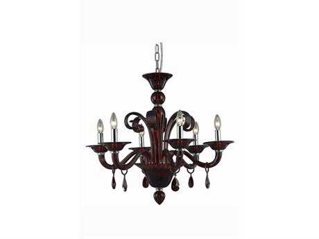 Elegant Lighting Muse Royal Cut Red & Bordeaux Six-Light 29'' Wide Chandelier