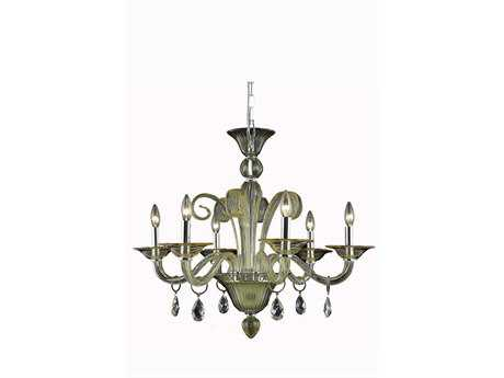 Elegant Lighting Muse Royal Cut Yellow & Golden Shadow Six-Light 29'' Wide Chandelier