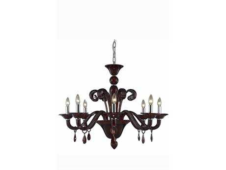 Elegant Lighting Muse Royal Cut Red & Bordeaux Eight-Light 36'' Wide Chandelier