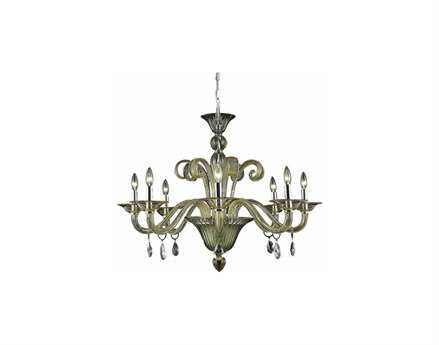 Elegant Lighting Muse Royal Cut Yellow & Golden Shadow Eight-Light 36'' Wide Chandelier