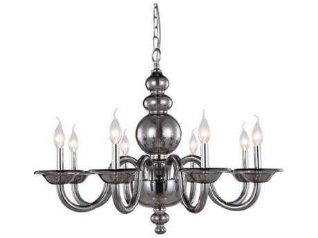 Elegant Lighting Champlain Silver Shade Eight-Light 30'' Wide Chandelier