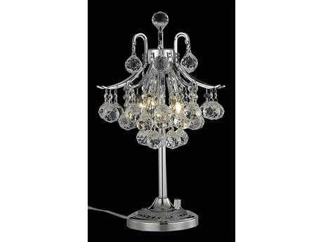 Elegant Lighting Toureg Royal Cut Chrome & Crystal Three-Light Table Lamp