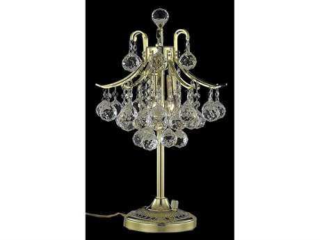 Elegant Lighting Toureg Royal Cut Gold & Crystal Three-Light Table Lamp