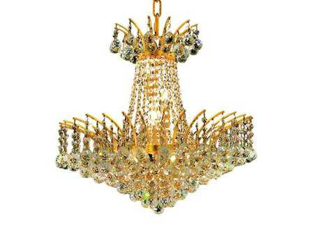 Elegant Lighting Victoria Royal Cut Gold & Crystal Eight-Light 19'' Wide Mini Chandelier