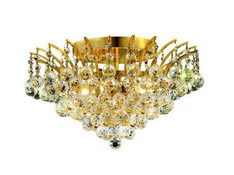Elegant Lighting Victoria Royal Cut Gold & Crystal Six-Light 16'' Wide Semi-Flush Mount Light