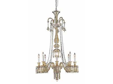 Elegant Lighting Majestic Elegant Cut Golden Teak Eight-Light 32'' Wide Grand Chandelier