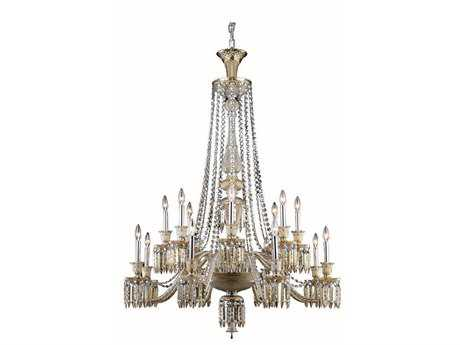 Elegant Lighting Majestic Elegant Cut Golden Teak 16-Light 42'' Wide Grand Chandelier
