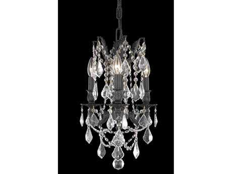 Elegant Lighting Rosalia Royal Cut Dark Bronze & Crystal Three-Light 13'' Wide Mini Chandelier