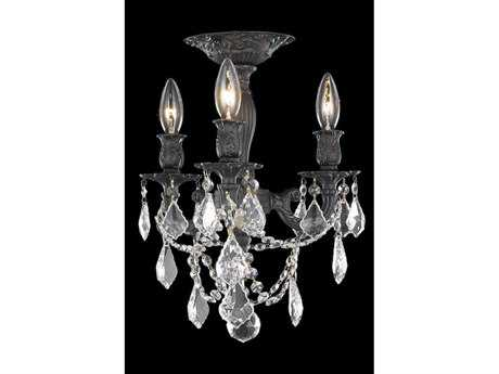 Elegant Lighting Rosalia Royal Cut Dark Bronze & Crystal Three-Light 13'' Wide Semi-Flush Mount Light