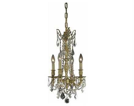 Elegant Lighting Rosalia Royal Cut Antique Bronze & Crystal Four-Light 10'' Wide Mini Chandelier