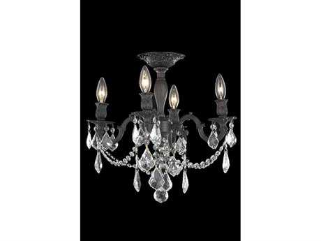 Elegant Lighting Rosalia Royal Cut Dark Bronze & Crystal Four-Light 17'' Wide Semi-Flush Mount Light