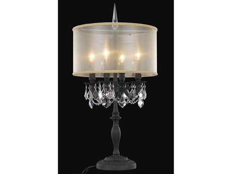 Elegant Lighting Rosalia Royal Cut Dark Bronze & Crystal Four-Light Table Lamp