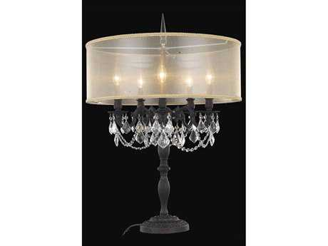 Elegant Lighting Rosalia Royal Cut Dark Bronze & Crystal Five-Light Table Lamp