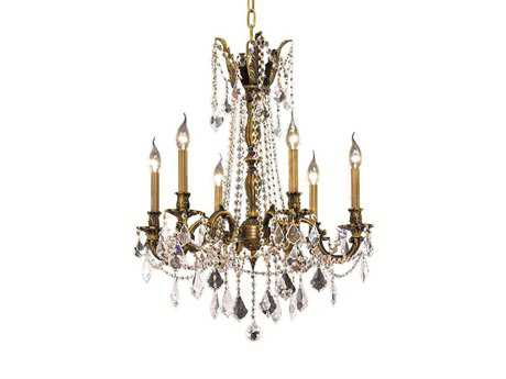 Elegant Lighting Rosalia Royal Cut Antique Bronze & Crystal Six-Light 23'' Wide Chandelier